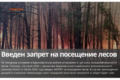 Введен запрет на посещение лесов в Барановичском районе
